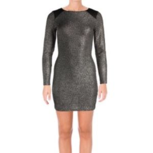 Bloomingdales Gold Glitter Long Sleeve Party Dress